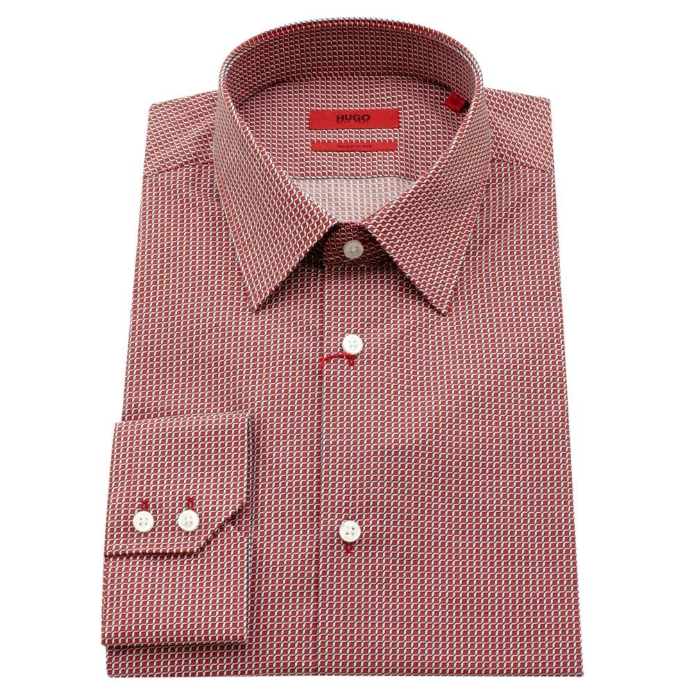 8e43a8339 Hugo Boss Hugo C-Enzo Red Cotton Regular Fit Shirt 50372624