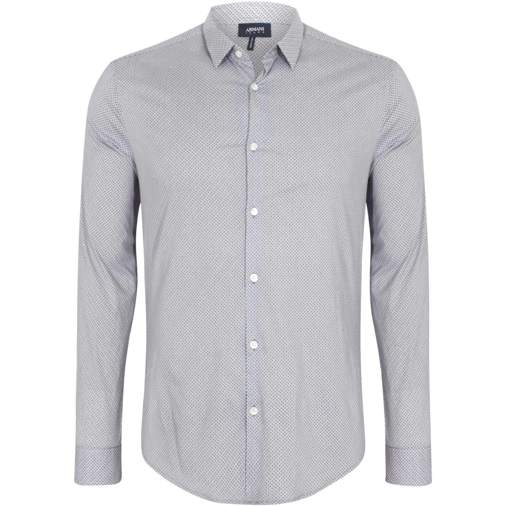b52bff8e76a2 Armani Jeans Slim Fit Grey Patterned Shirt 6Y6C09 6NMYZ
