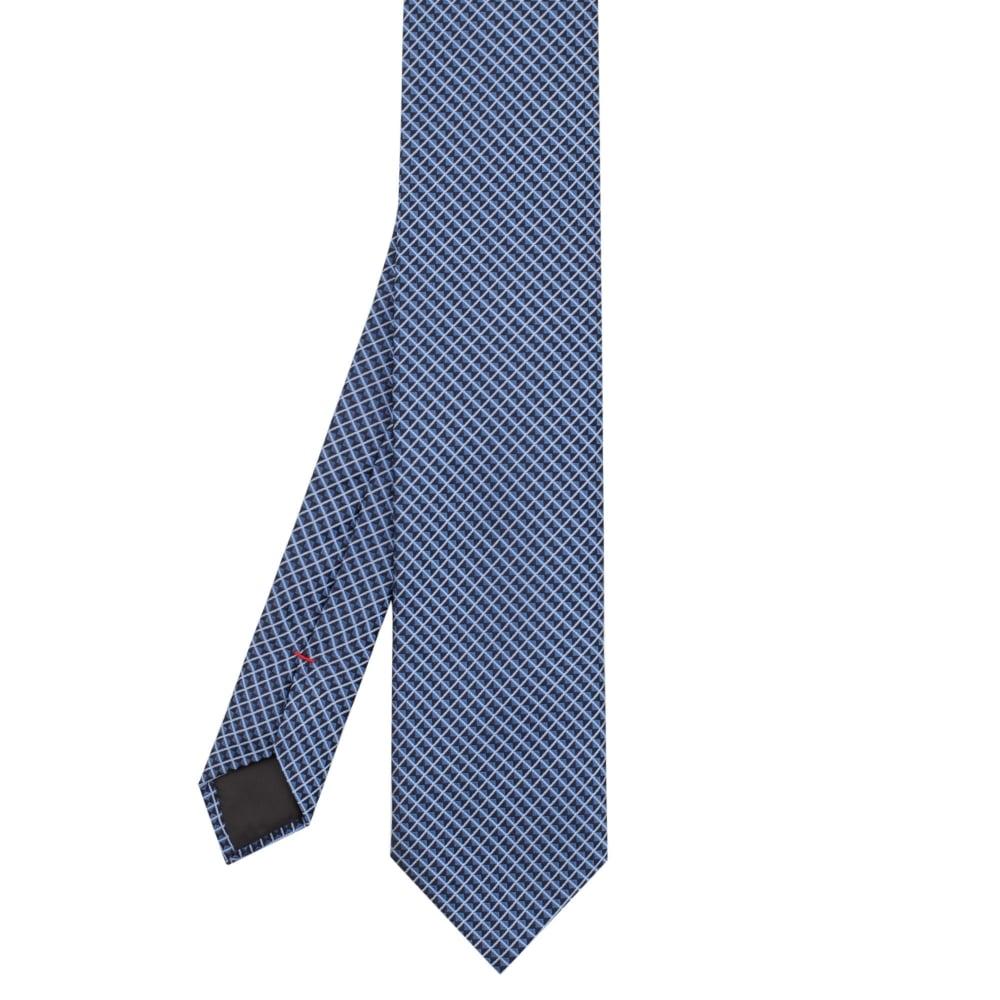 Hugo Boss Hugo Silk Tie with Diamond Micro-pattern TIE 7 50374010 Blue 47399fc8093