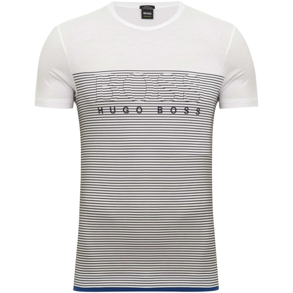 46224e68b98bf7 Hugo Boss Green Teep Striped T-Shirt Slim Fit White 50384082-100