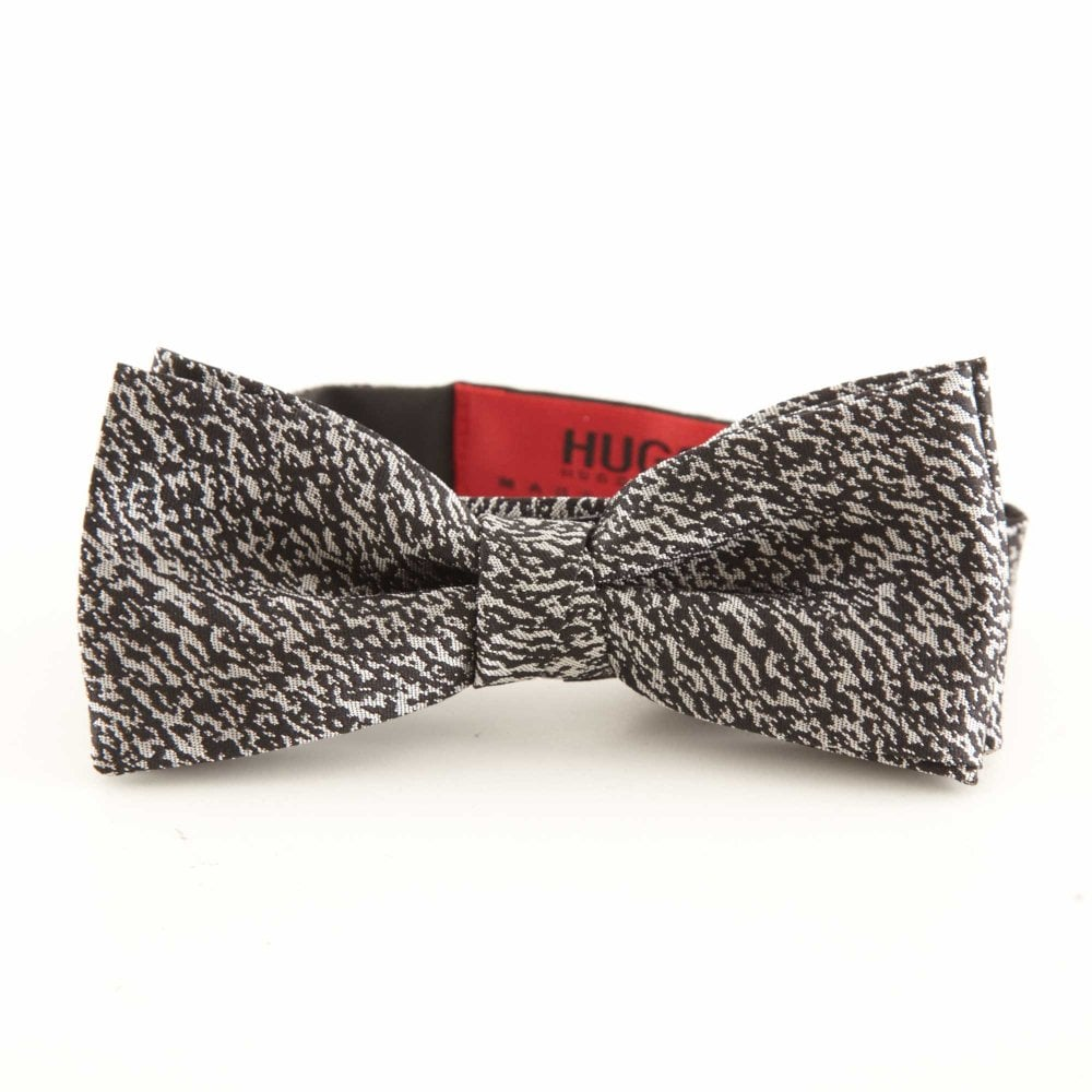3ebb35d35bb6 HUGO Italian-made Patterned Bow Tie Black 50384022-001