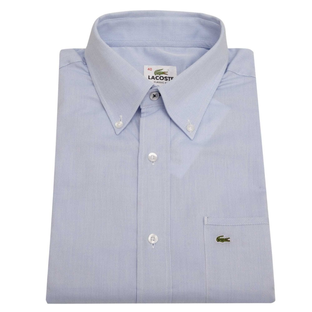 3448244d Lacoste Short-sleeved Striped Shirt Classic Fit Light Blue