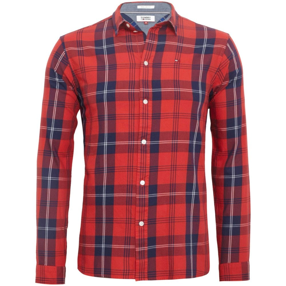 bfd9f0846378 Tommy Hilfiger Plaid Shirt Regular Fit Red DM0DM04980-602