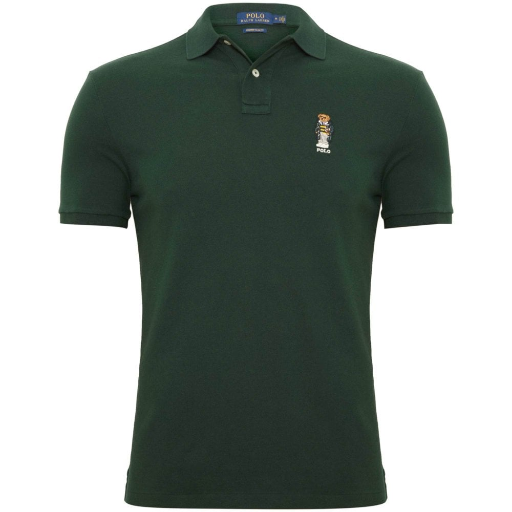 bab37e36 Ralph Lauren Bear Pique Polo Shirt Regular Fit Green 710720848003