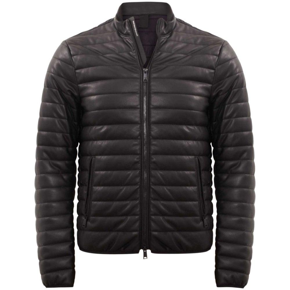 f82a62e059b Emporio Armani Eco-Leather Quilted Jacket Slim Fit Black 6Z1B871EADZ ...