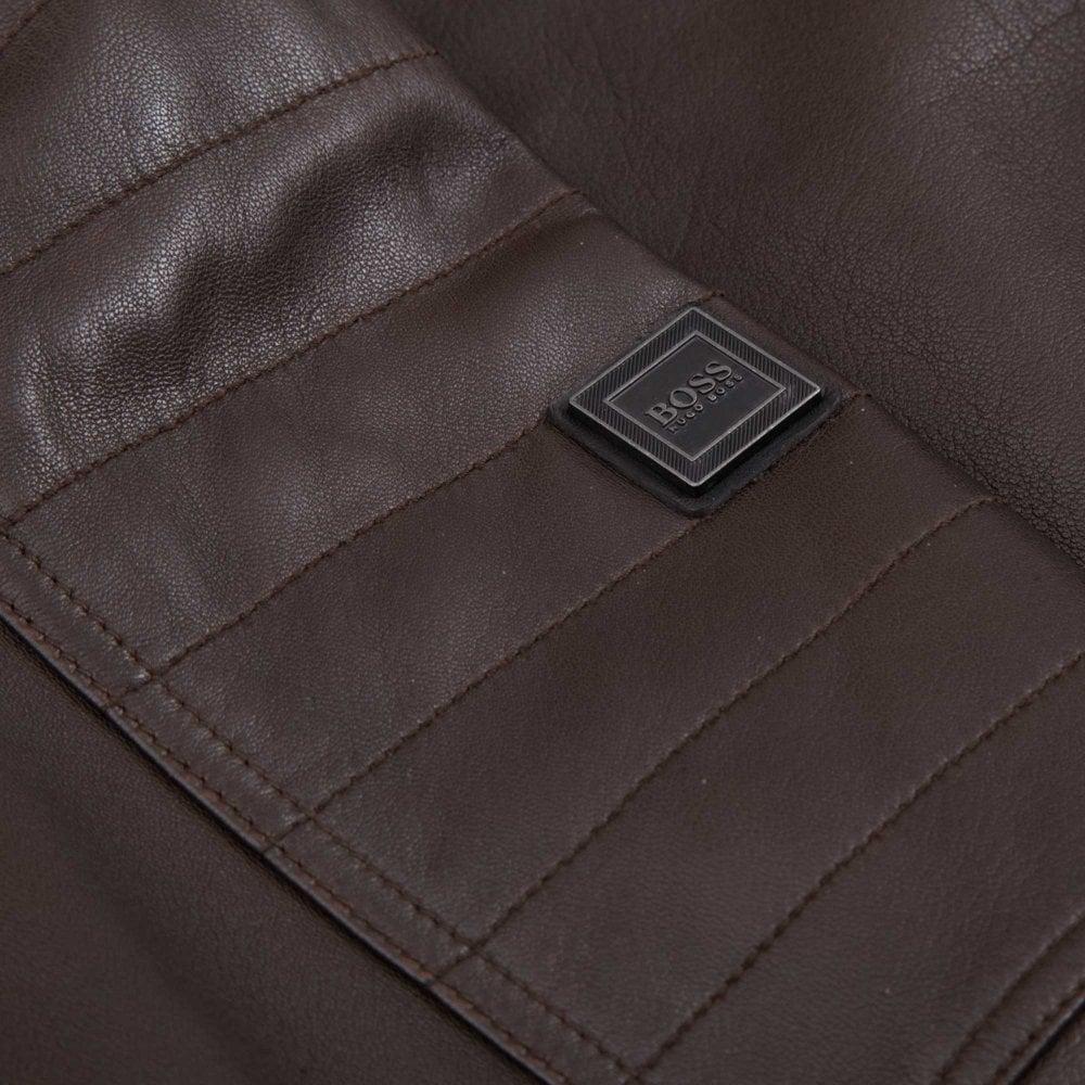 BOSS Biker Leather Jacket Jaysee Regular Fit Brown 50391694-204 1c9e8fb9752