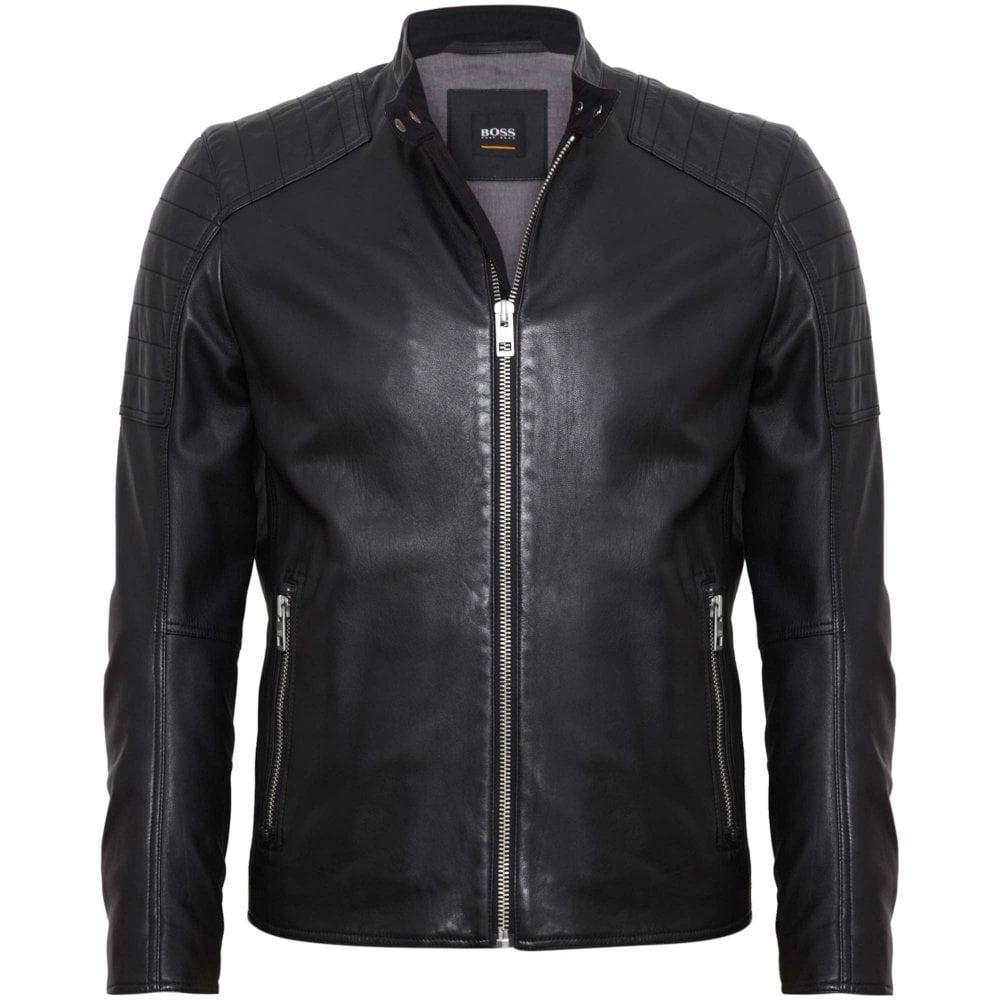 22d9b9aa4a41 BOSS Biker Leather Jacket Jaysee Slim Fit Black 50391694-001