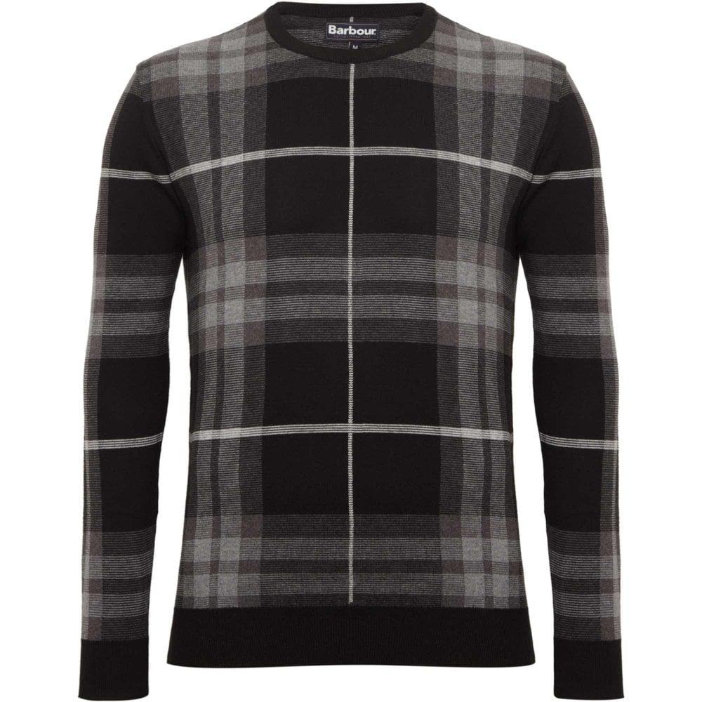60a677b37a33 Barbour Jacquard Sweater Tartan Regular Fit Black MKN1120GY92