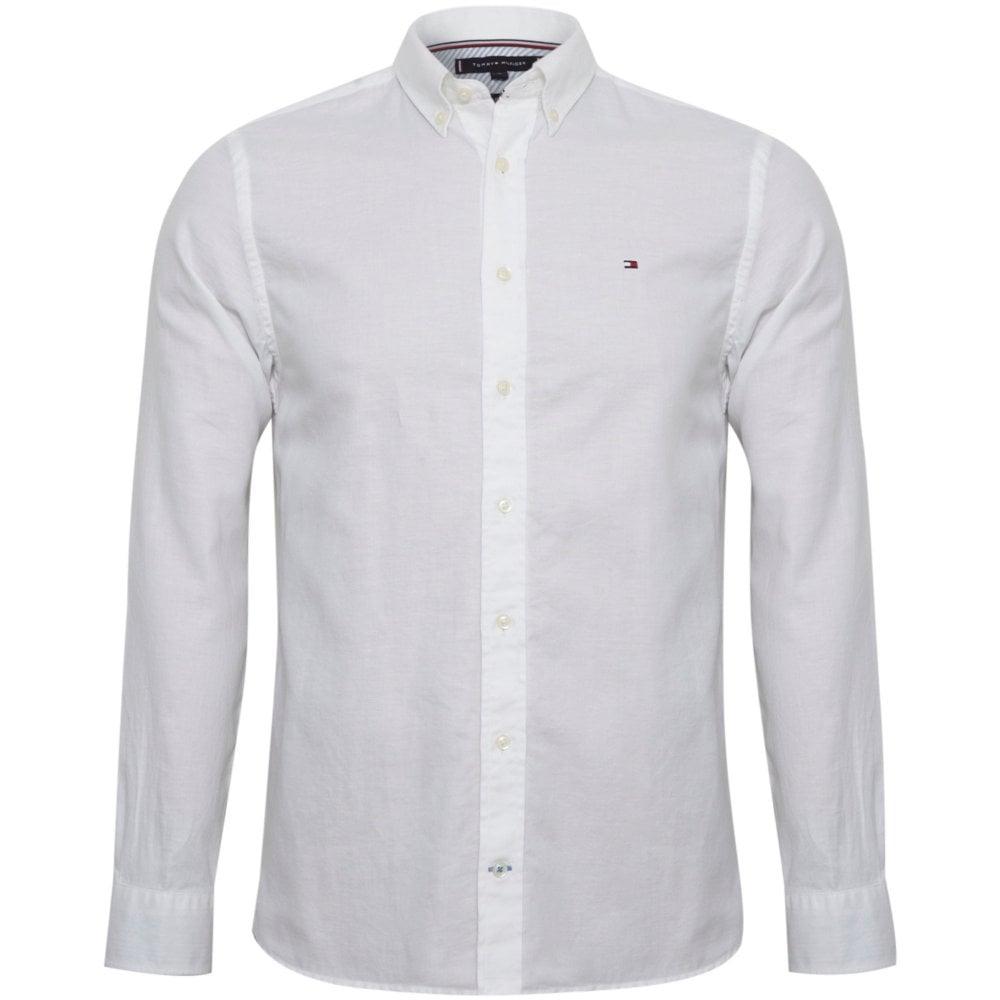 6121742e3 Tommy Hilfiger Linen Shirt Regular Fit MW0MW09878-100
